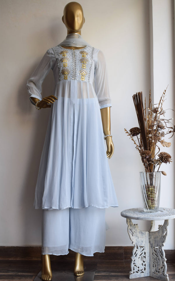 Powder Blue Gota Patti Anarkali Tunic and Pallazo Set