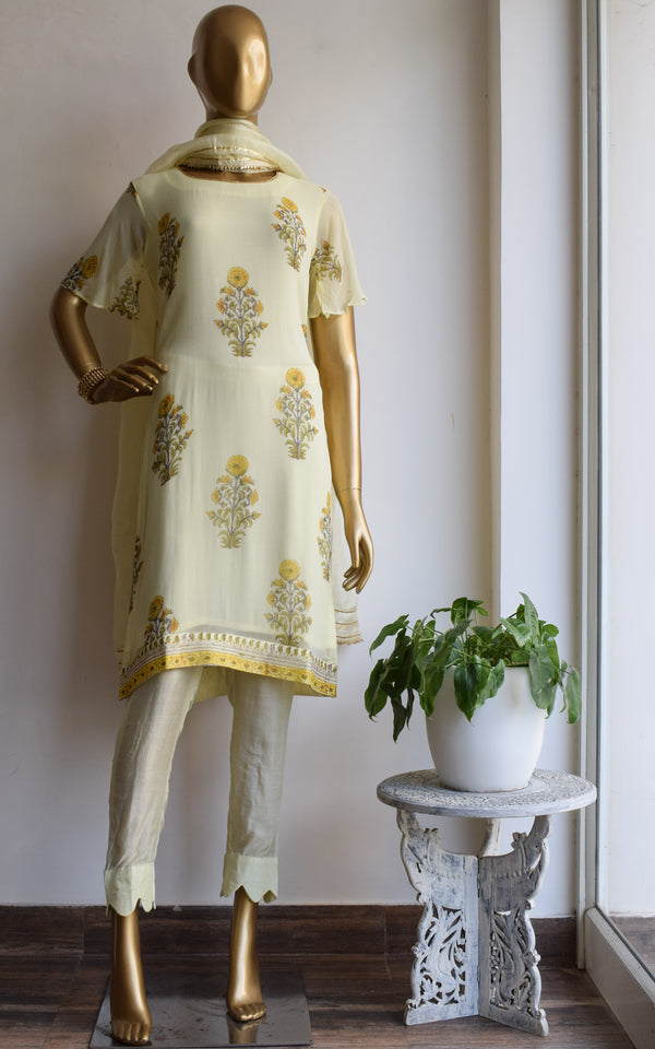 Light Yellow Block Print Kurta Set