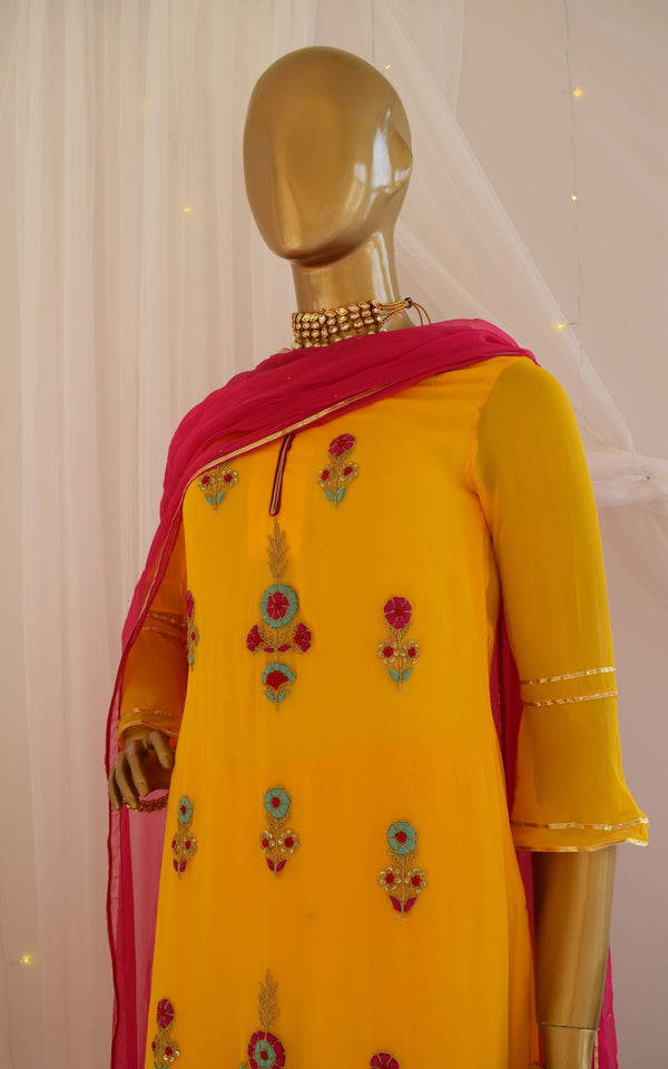 Yellow Zardozi Kurta and Sharara Set
