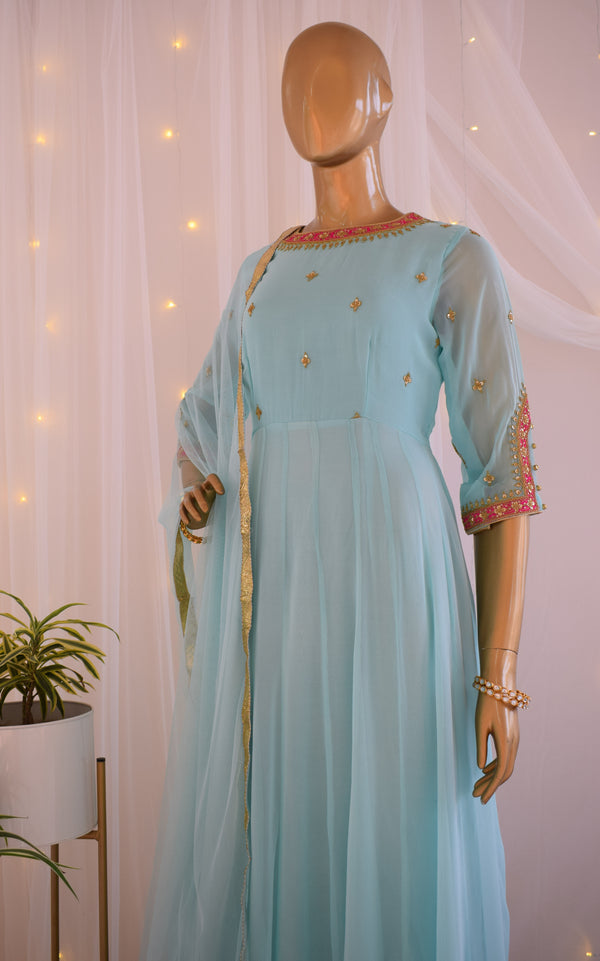 Mint Blue 'Marodi' work Anarkali