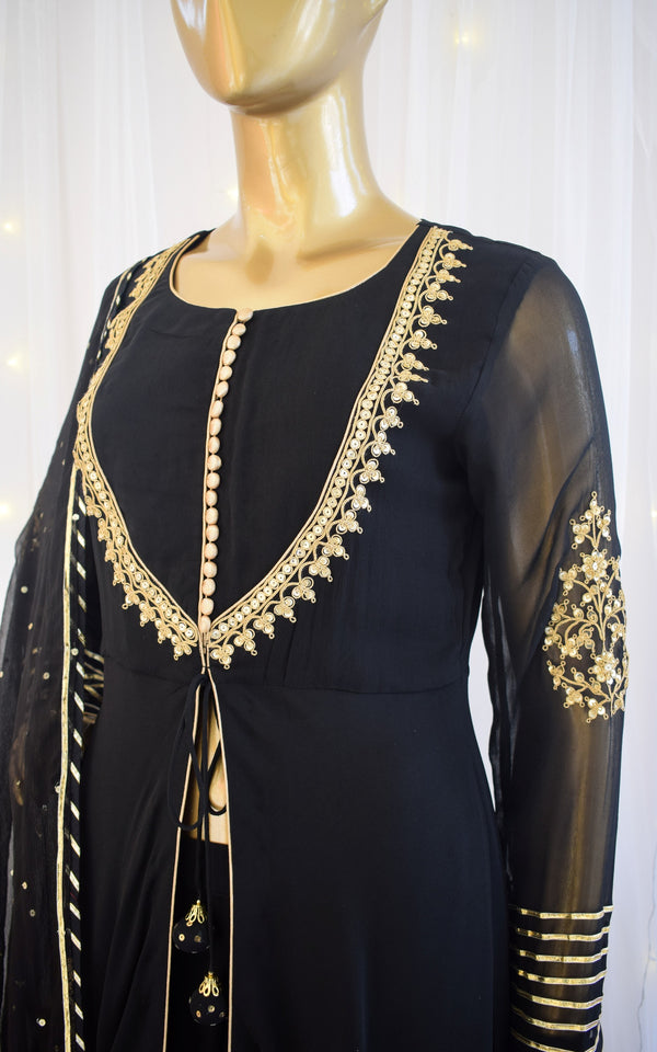 Black Marodi Work Sharara Set