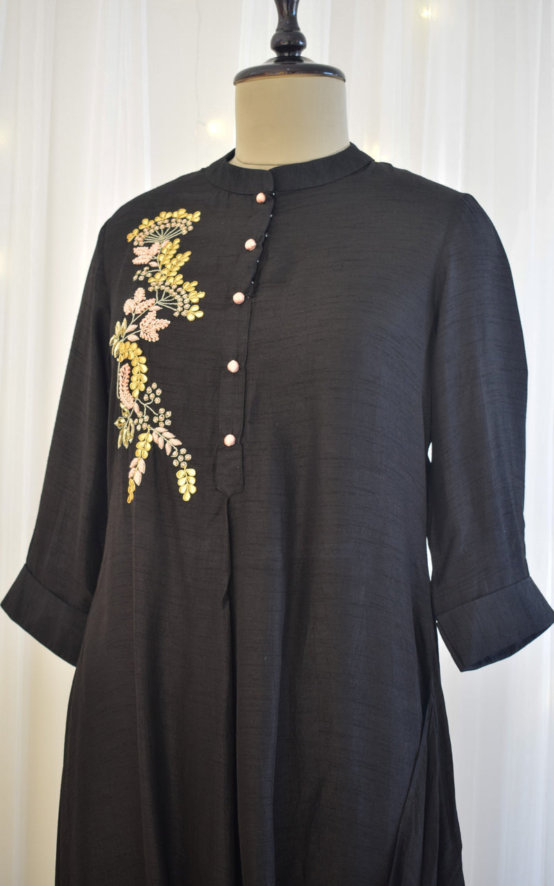 Black Gota Patti Drape Tunic