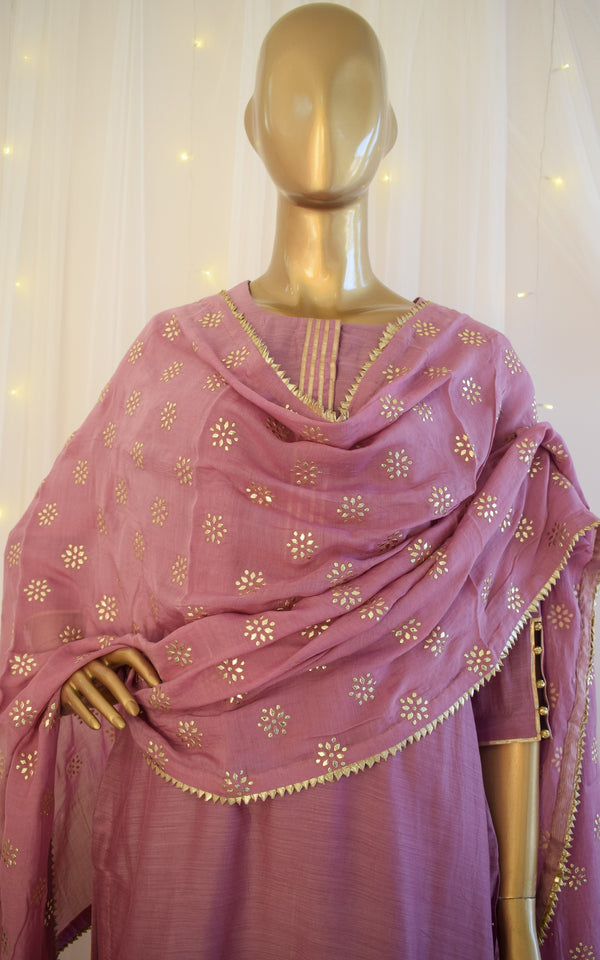 Orchid Cotton Silk Kurta Set with Mukaish Dupatta