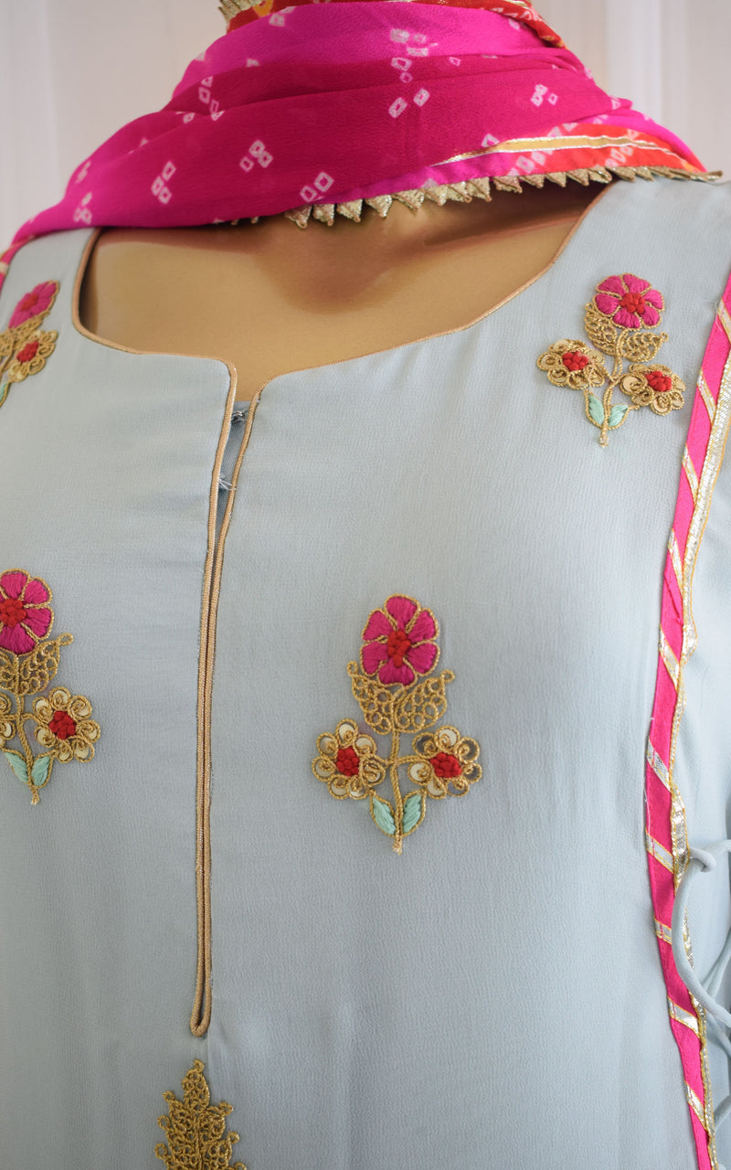 Powder Blue Embroidered Dress with Bandhani Dupatta