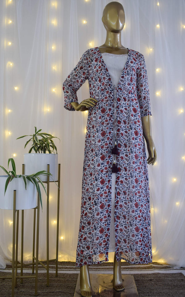 Georgette Floral Print Jacket with Cotton Dress