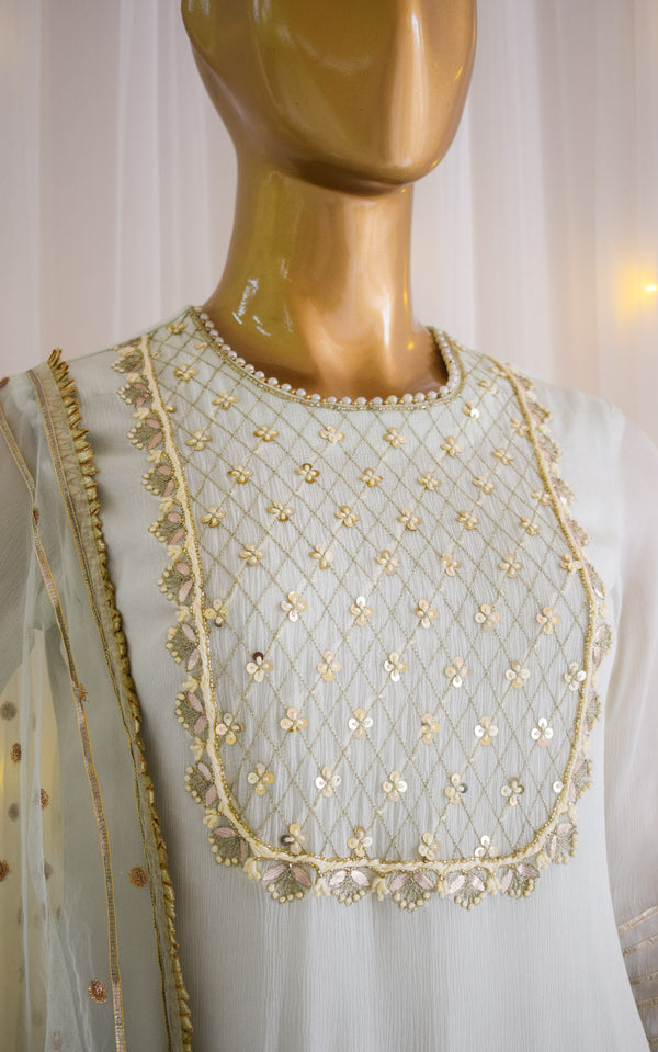 Mint Green Handwork Sharara Set