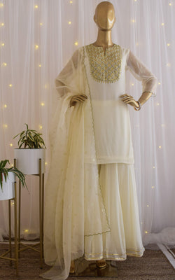 Cream Gota Patti Sharara Set