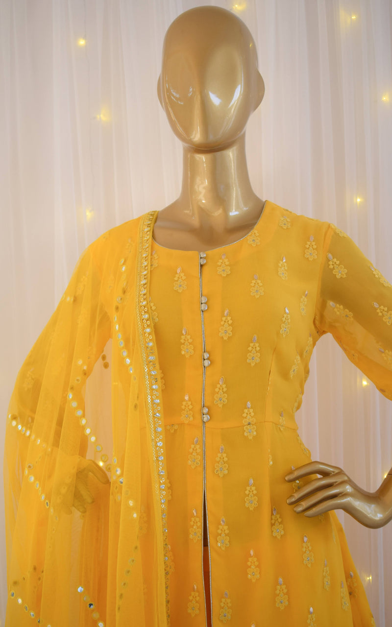 Sunshine Yellow Chikankari Sharara Set