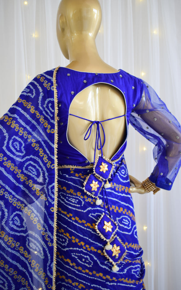 Royal Blue Bandhej Saree