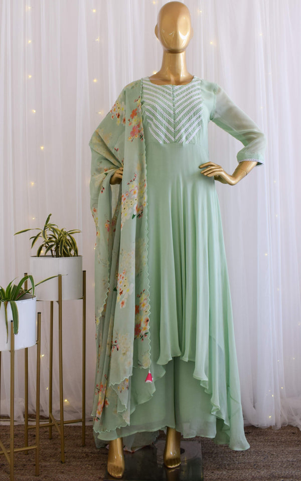 Pastel Green Flared Tunic and Palazzo Set with Printed Dupatta