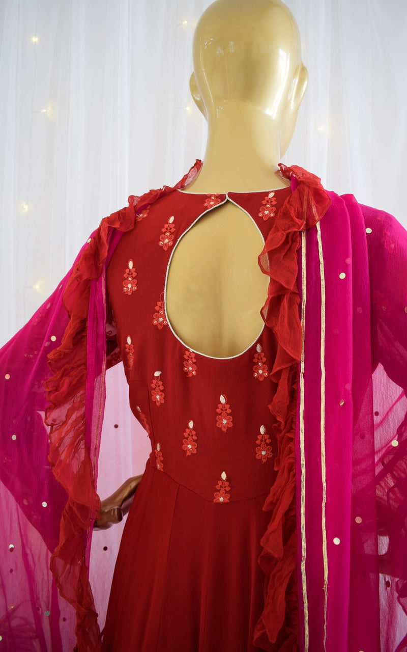 Red Chikankari Anarkali with Ruffle Chiffon Dupatta