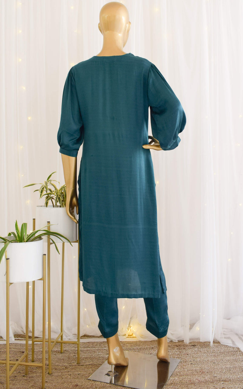 Teal Green Modal Satin Kurta and Pant Set