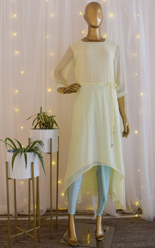 Lime n Mint Mirrorwork Long Kurti with Dhoti Pants