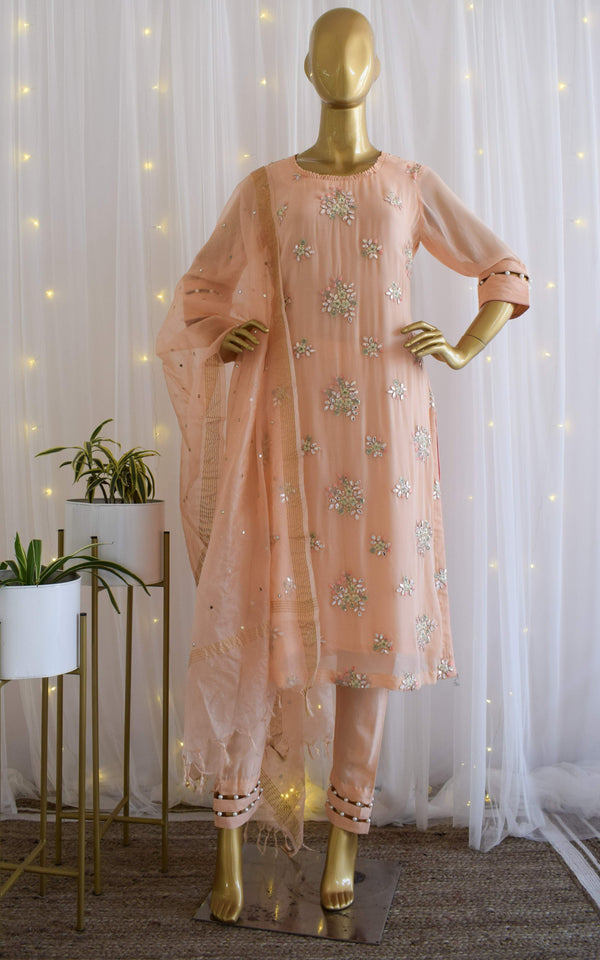 Melon Gota Work Kurta Set with Mirrorwork Organza Dupatta