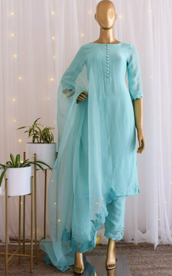 Sky Blue Kurta-Pant Set with Organza Dupatta
