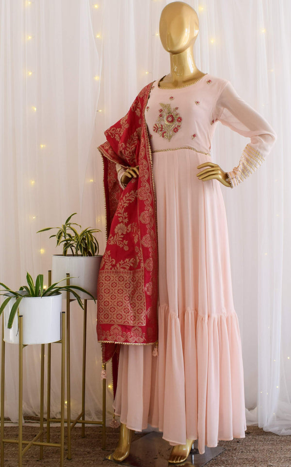 Powder Pink Handwork Anarkali with Banarasi Dupatta