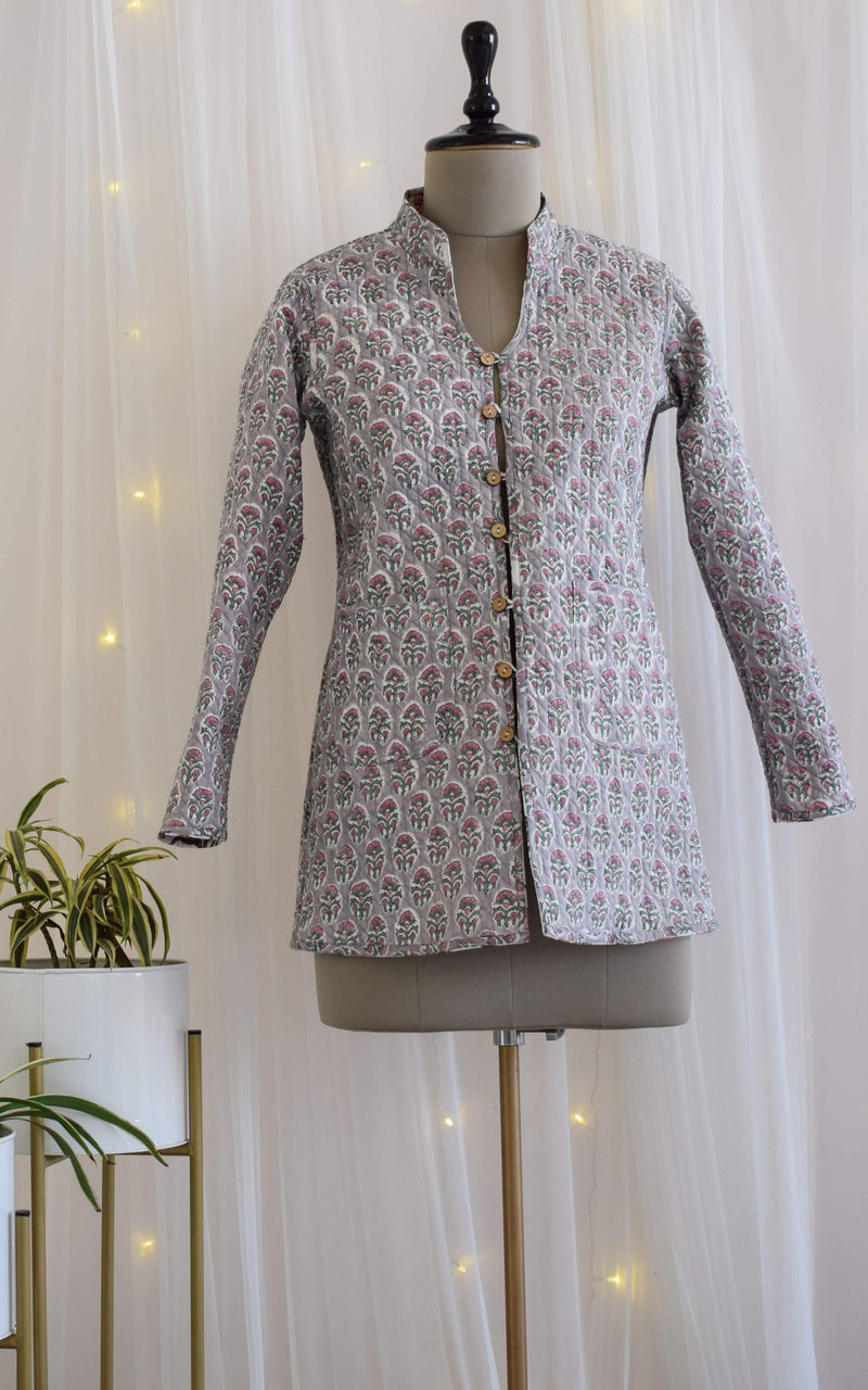 Grey-Pink Booti Block Print Reversible Quilted Jacket