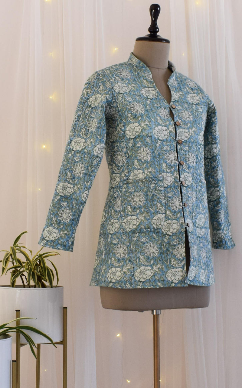 Blue-Green Block Print Reversible Quilted Jacket