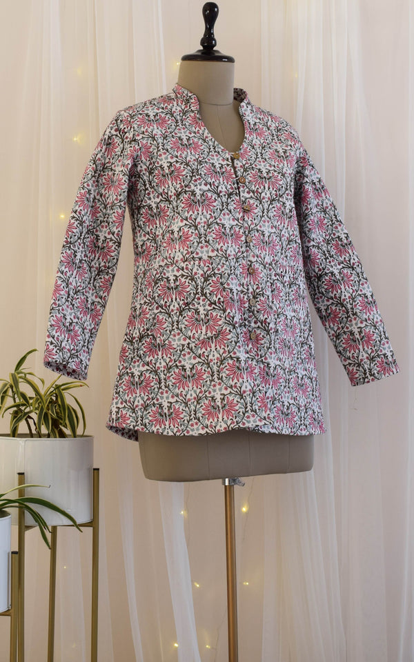 Mughal Jaal Block print Reversible Quilted Jacket