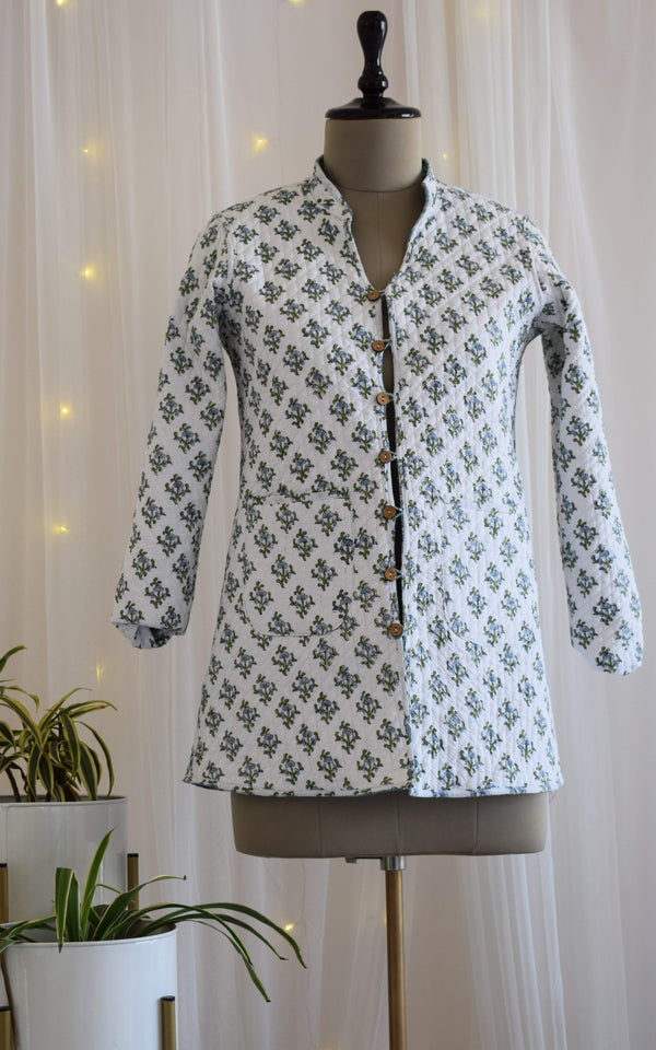 Booti Block Print Reversible Quilted Jacket