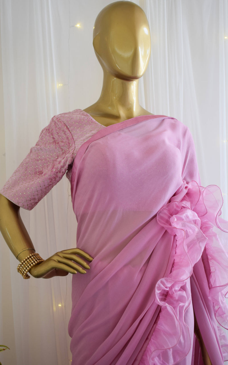 Lavender Ruffle Saree with Velvet Blouse