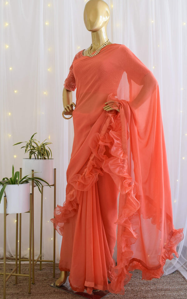 Orange Ruffle Saree with Velvet Blouse