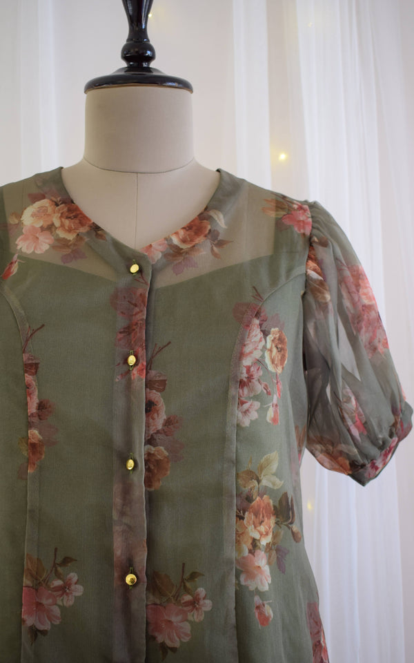 Olive Green Floral Organza Shirt Top
