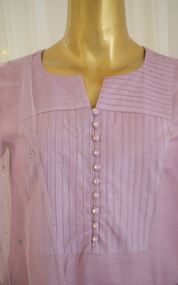 Amaranth Pink Kurta Set with Mukaish-work Dupatta