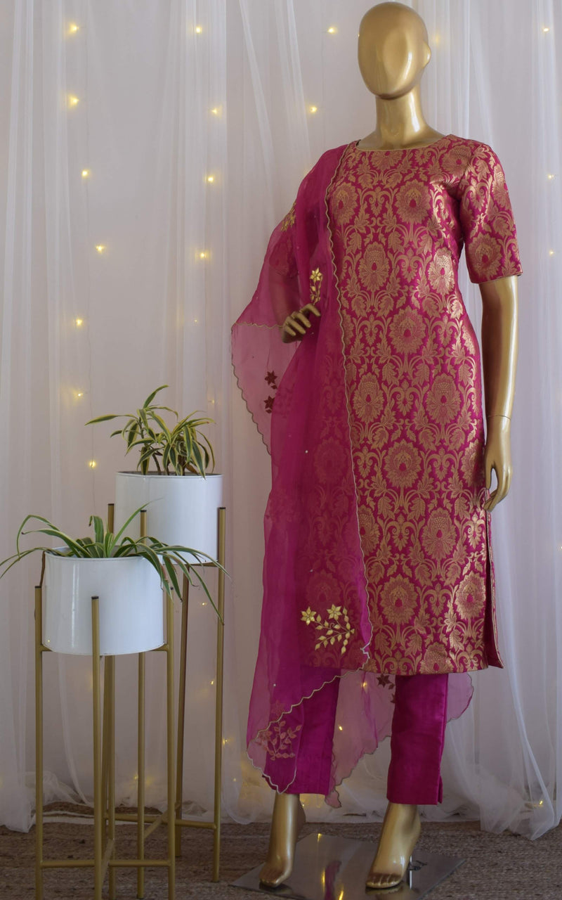 Fuschia Brocade Kurta Set with Gota Patti Organza Dupatta