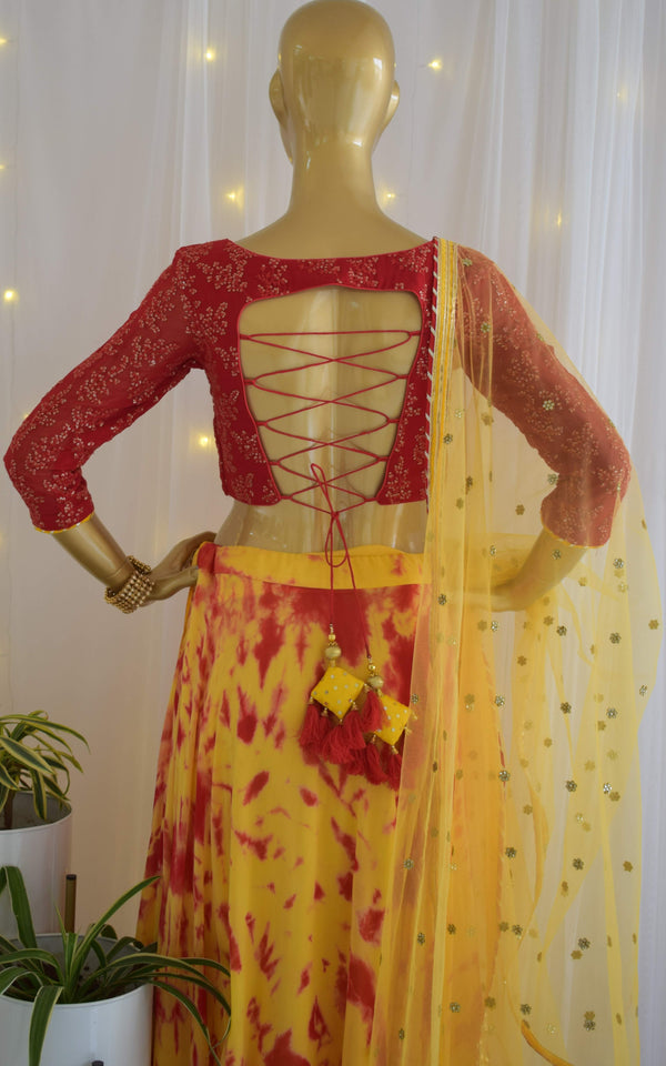 Red-Yellow Shibori Lehenga