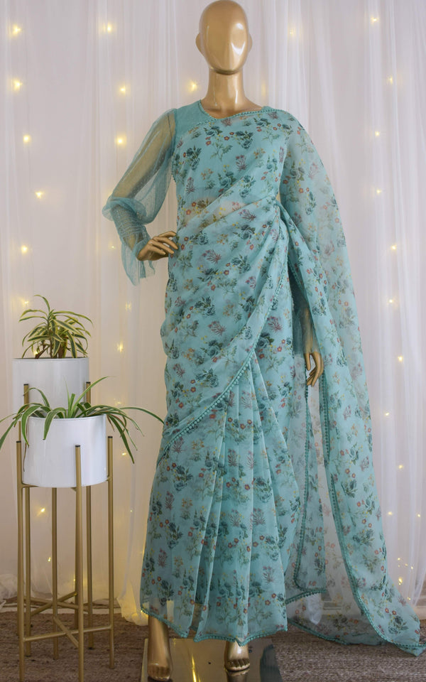 Lagoon Breeze Floral Organza Saree