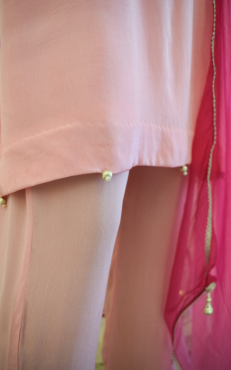 Light Pink Gota Patti Tunic and Pant Set