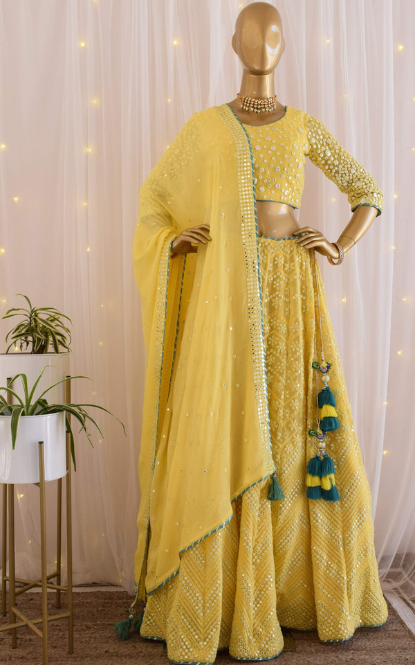 Yellow Mirror-work Lehenga