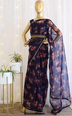 Navy Blue Floral Organza Saree with Embellished Belt