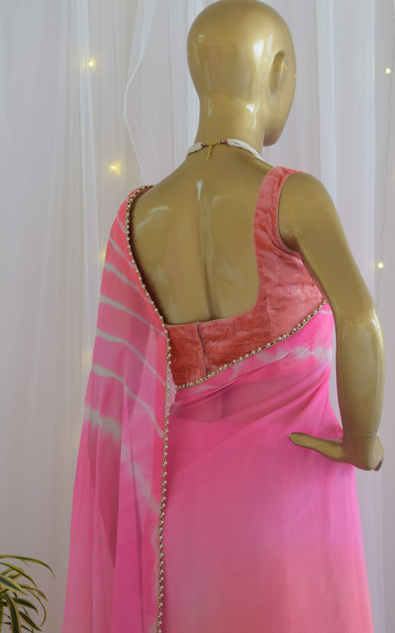Pink-Peach Chiffon Leheriya Saree with Velvet Blouse