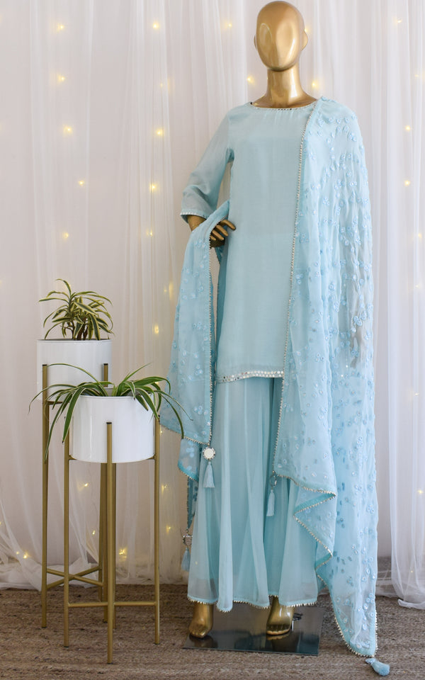 Sky Blue Mirrorwork Sharara Set