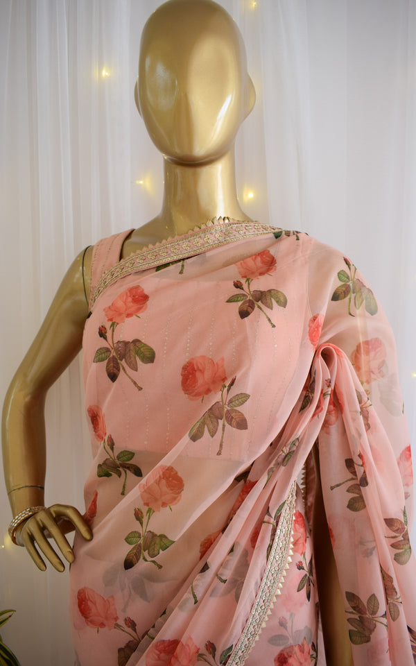 Blushed Rose Organza Saree