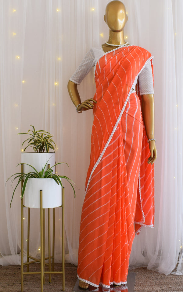 Coral Peach Pearl Border Leheriya Saree