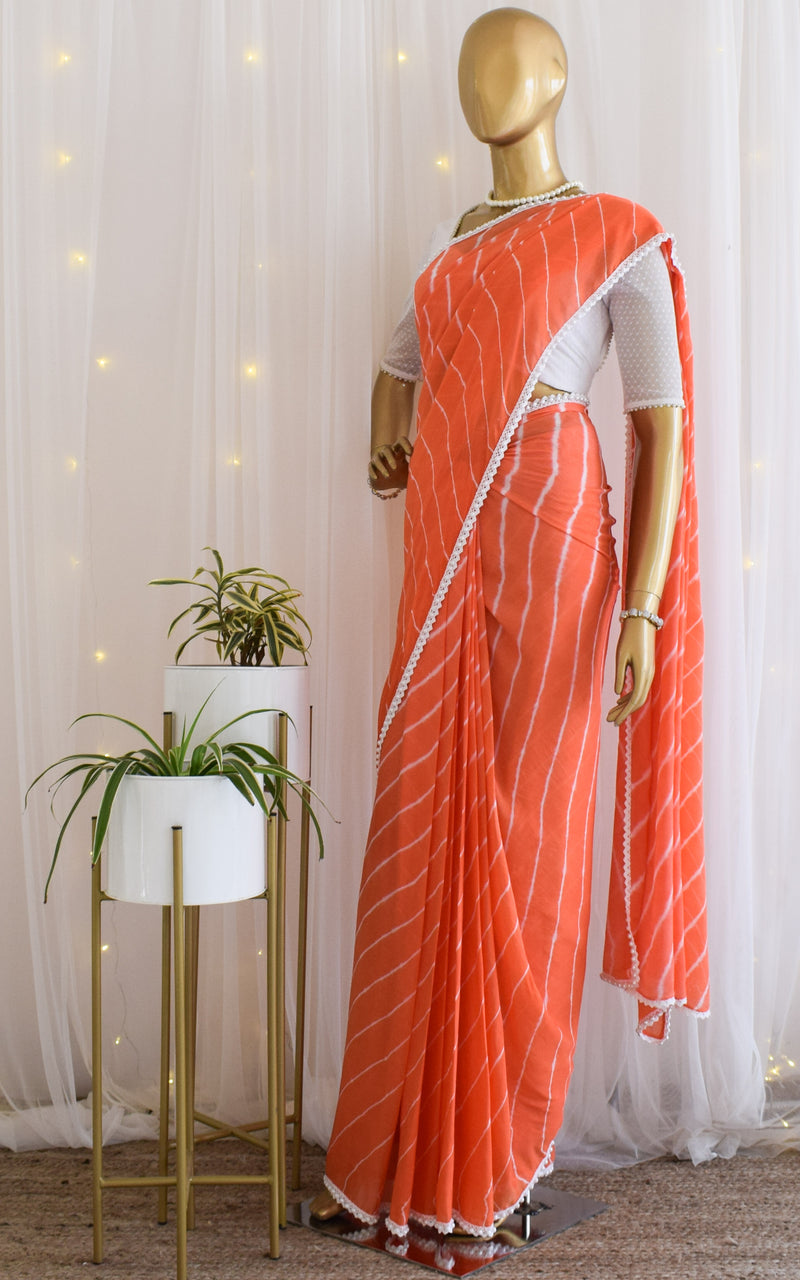 Coral Peach Leheriya Pearl Border Saree