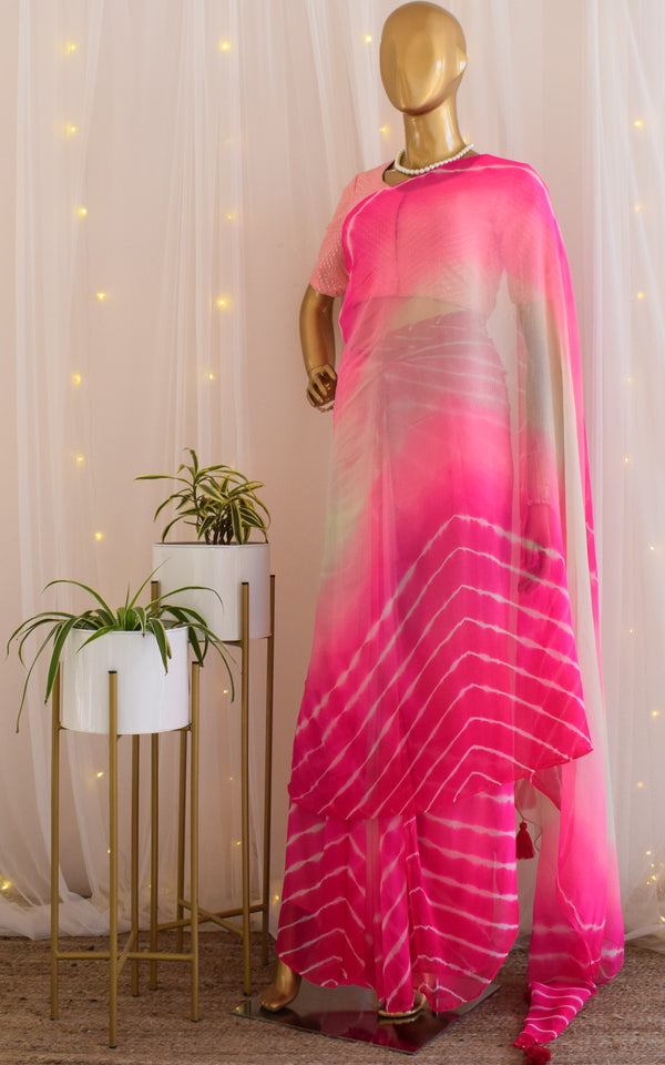 Multishaded Chiffon Leheriya Saree
