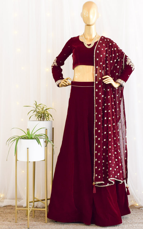 Maroon Velvet Lehenga with Embroidered Dupatta