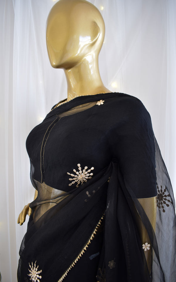 Black Gota Patti Organza Saree