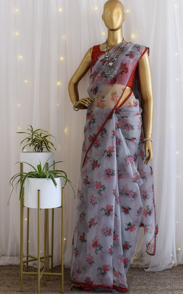 Grey-Red Floral Organza Saree