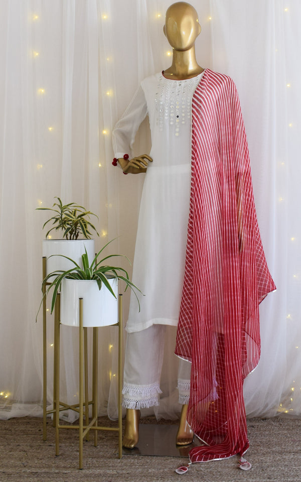 White Mirrorwork  Kurta Set with Red Leheriya Dupatta