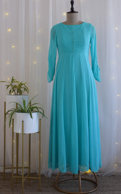 Turquoise Dori Yoke Long Tunic