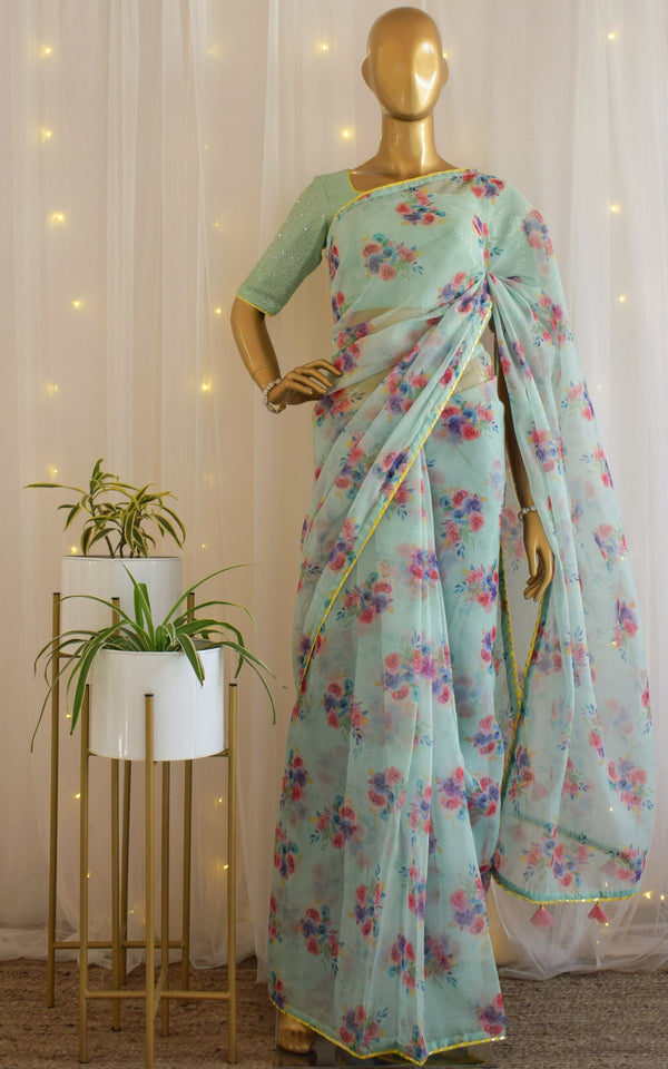 Mint Blue Floral Organza Saree