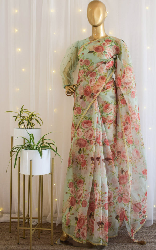 Pistachio Green Floral Organza Saree with Net  Booti Blouse