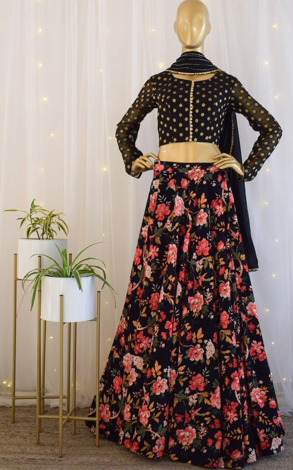 Black Floral Velvet Lehenga with Mukaish Dupatta