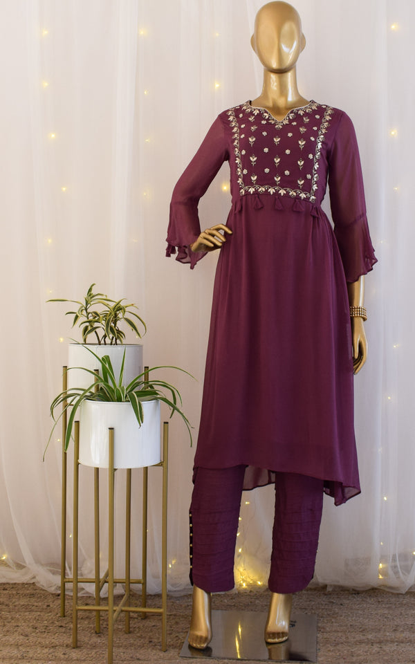Plum Handwork Georgette Tunic & Pant Set