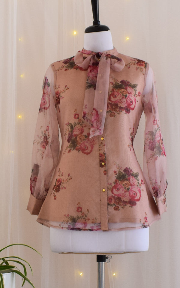 Dusty Pink Tie-Up Organza Shirt
